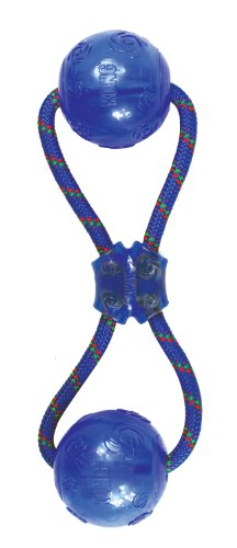 Kong Squeezz Double Ball with Rope for Dogs, Medium, Colors Vary, My Pet Supplies