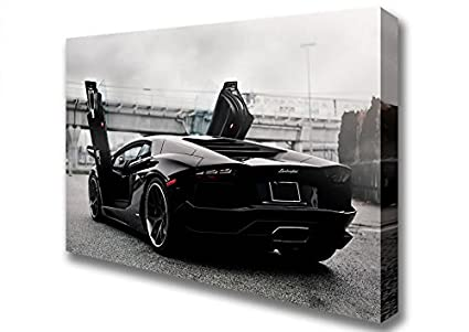 Living Colors Cars Lamborghini Aventador Jet Black Canvas Art Prints