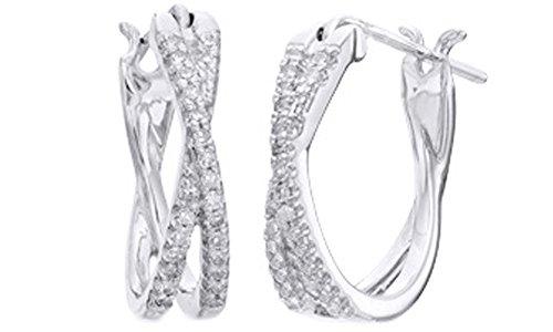 White Natural Diamond Criss-Cross Hoop Earrings In 10k Solid White Gold (1/5 Cttw)