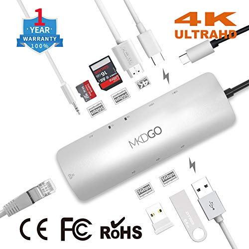 MKDGO 9 in 1 USB C Hub Multiport Adapter with 4K HDMI 1000M