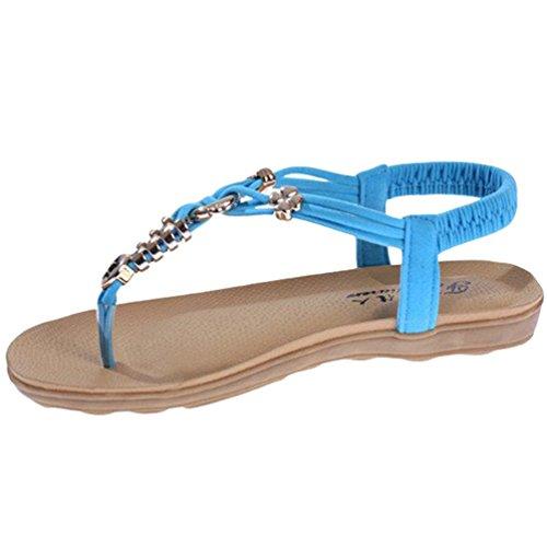 Sentao Mujer Sandalias Bohemia Plano Sandalias del Verano con Cuentas T-Correas Playa Zapatos Azul
