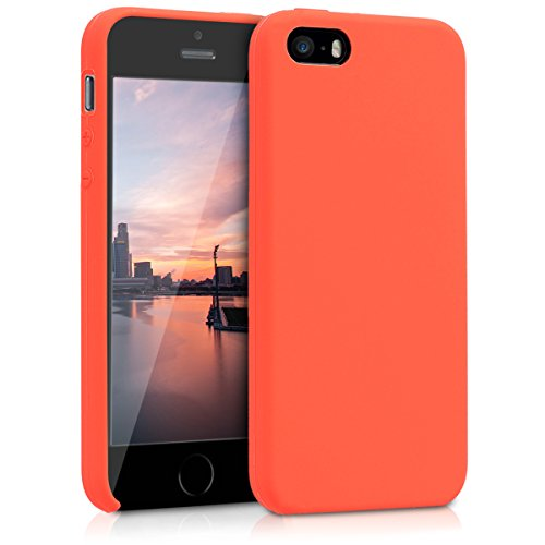 (kwmobile TPU Silicone Case for Apple iPhone SE / 5 / 5S - Soft Flexible Rubber Protective Cover - Neon Orange)