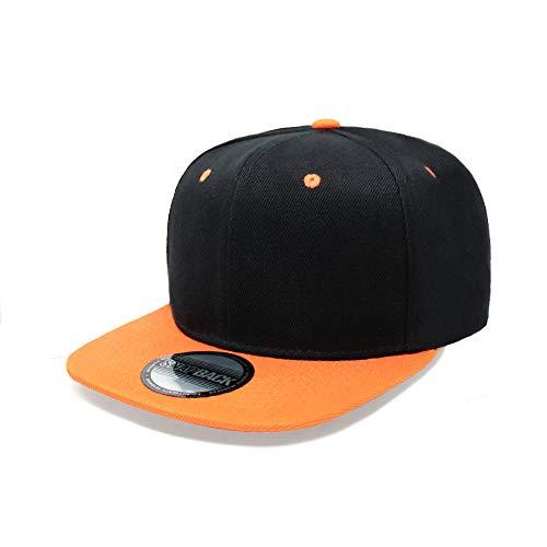 ChoKoLids Flat Visor Snapback Hat Blank Cap Baseball Cap - 17 Colors (Two-Tone Black/Orange)