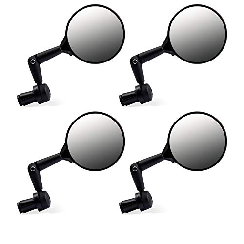 Juvale Bicycle Mirrors - 4-Pack Bike-Eye Mountain Bike Mirrors, 360 Degree Rotate Adjustable Bar End Rear View Mirror
