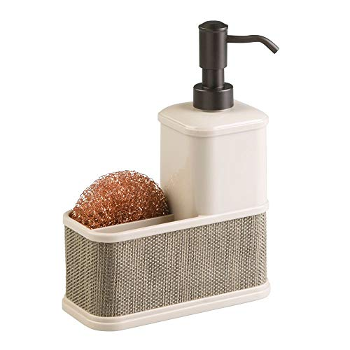 mDesign Decorative Plastic Kitchen Sink Countertop Liquid Hand Soap Dispenser Pump Bottle Caddy with Storage Compartment - Holds and Stores Sponges, Scrubbers and Brushes - Pearl Champagne