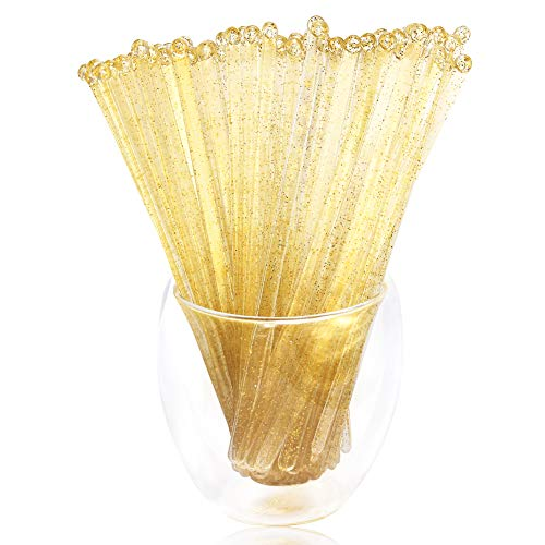 Liacere 6.5inch Gold Glitter Swizzle Sticks-Disposable Round Top Coffee Stir Sticks- Plastic Drink Stirrers,Set of 120