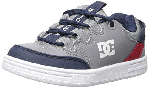 DC Boys' Syntax Skate Shoe, Grey/RED/White, 12 M M US Little Kid ()