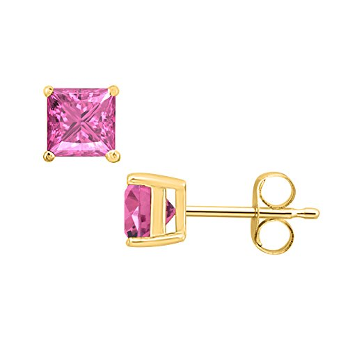 SVC-JEWELS (4MM) Princess Cut Pink Sapphire Solitaire Stud Earrings 14K Yellow Gold Over .925 Sterling Silver For Women's & Girls