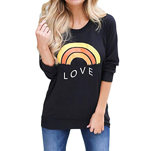 LEXUPA Women Letter Print Sweatshirt Casual Top Fashion T Shirt Long Sleeve Blouse Rainbow t-shirt(Black ,Small)
