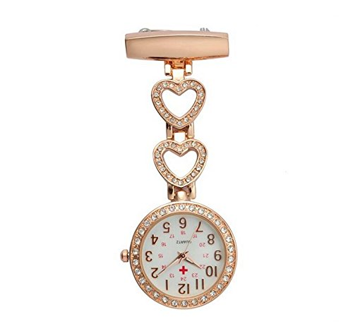 Dial Round Shining (Easyflower Novel and Unique Ladies Crystal Heart Nurse Doctor Paramedic Tunic Brooch Pocket Watch(Rose Gold))