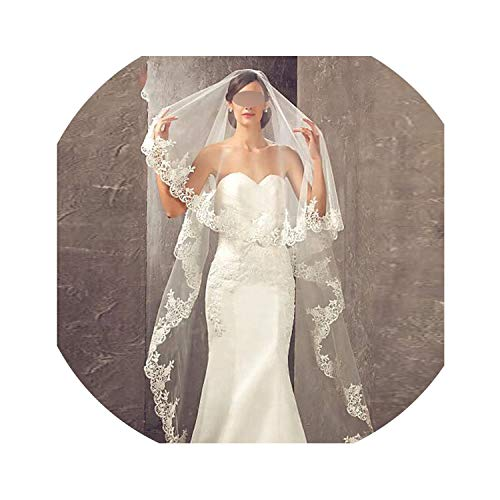 Veu de noiva longo Lace Appliques One Layers 2.7 M Long Veils Wedding Veils 2019 With Comb Wedding Accessories Bridal Veils,WHITE,300cm