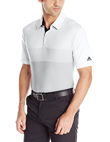 (adidas Golf Men's Climacool Birdseye Gradient Print Polo Shirt, White/Mid Grey/Vista Grey/Black, XX-Large)