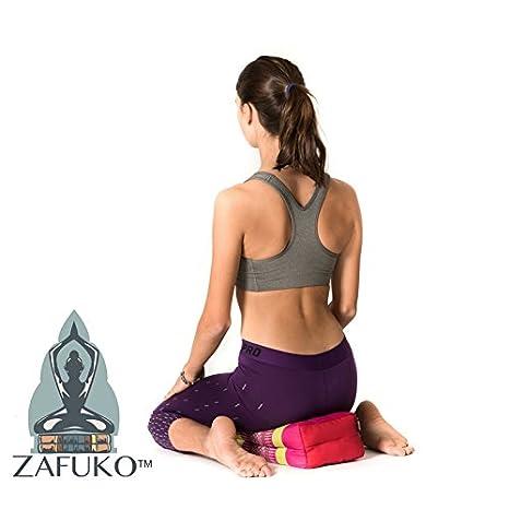 Zafuko Yoga, Meditation, Kundalini and Pilates FOLDABLE Cushion (Zafu) for on-the-go wide long block, bolster, floor pillow, prop - 100% organic Kapok ...