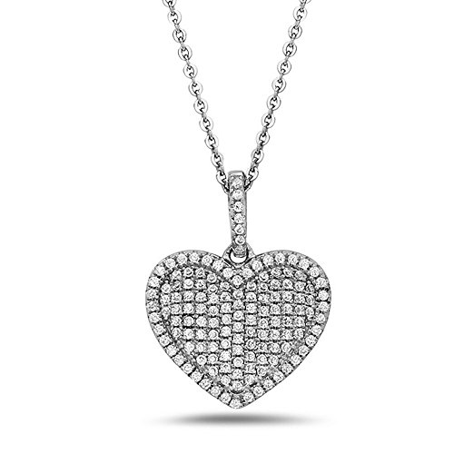 Crush & Fancy Heart Shape Pendant Necklaces   Made with 925 Sterling Silver and German Crystals   16-18 inch Chain Included (Lacey)