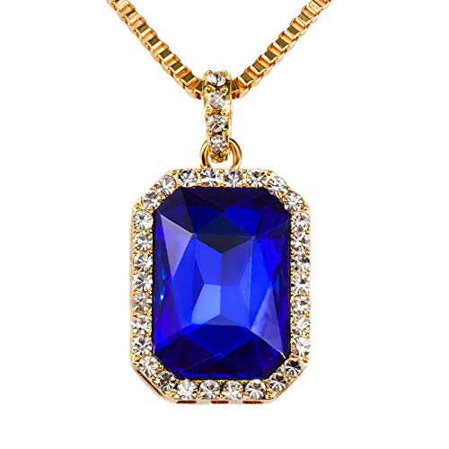 Haluoo_Jewelry Gemstone Necklace,Haluoo Fashionable Rectangle Red/Black/Blue Gems Crystal Pendant Necklace Gold Plated Rhinestones Pendant Long Box Chain European and American Style Necklace (Blue)