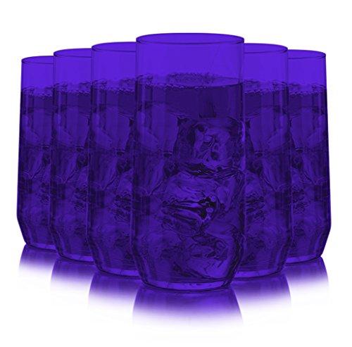 Libbey Diamond Swirl 6 -Piece Glassware Set Full Purple C...