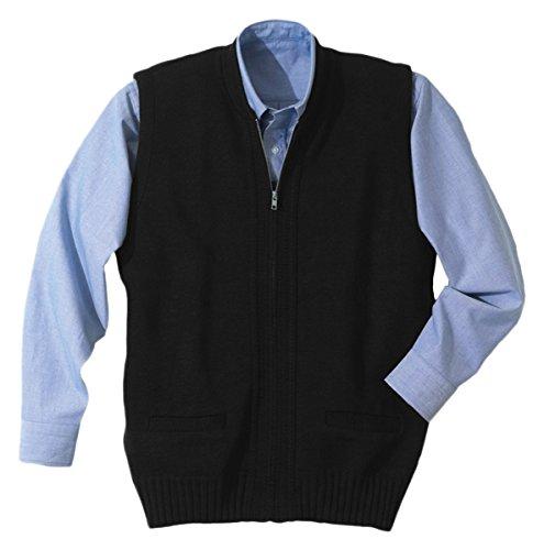 Two Large Zipper (Ed Garments Men's Heavy Weight Two Pocket Zipper Vest Large Black)