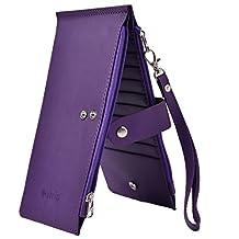 Outrip RFID Womens Leather Bifold Card Case Wallet Thin Zipper Card Wallet Purse(Purple)