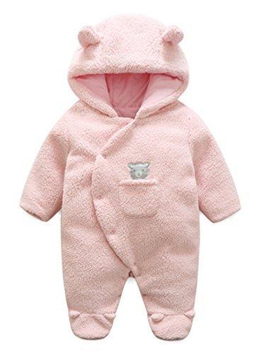 LOTUCY Baby Winter Cartoon Sheep Warm Fleece Hoodie Footies Jumpsuit Rompe Outwear Size 12-18 Months (Pink)