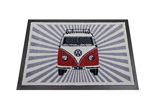 (BRISA VW Collection VW T1 Bus Doormat, 70x50cm - Samba Stripes/red)