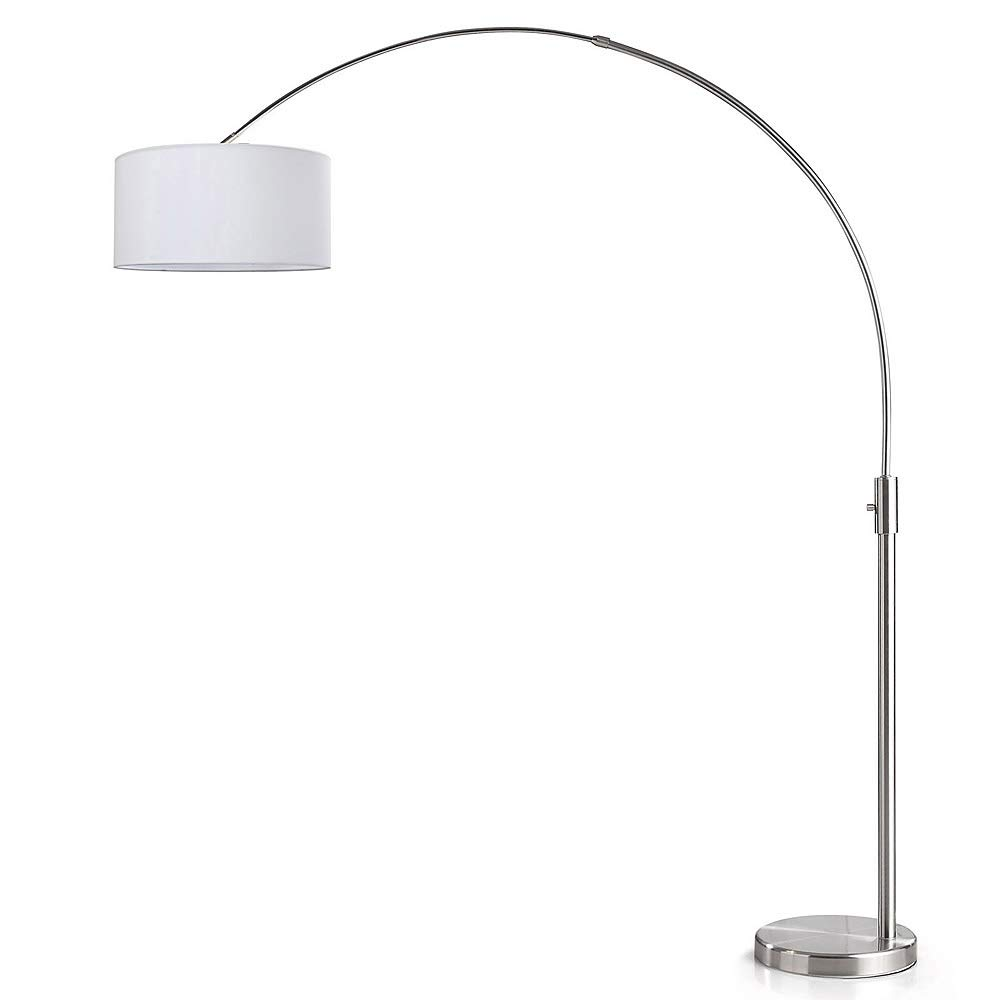 Orbita Arch Floor Lamp, Dimmer, 12W Dimmable LED Bulb Included, Brushed Nickel Finish, Drum Shade White Drum Shade