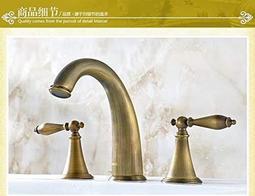 JingJingnet タップキッチンタップ洗面台の蛇口冷たいとお湯のミキサーバスルームのミキサー洗面器のミキサータップフル銅レトロアンティーク分割ダブル3穴のお湯と冷たい水キッチンまたはバスルームのタップ (Color : A) B07SHM68V2 A