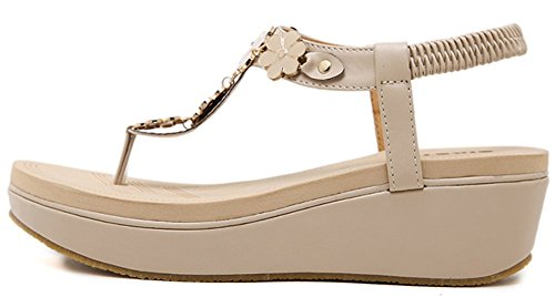 Shoes Bohemia Heel Women T apricot IDIFU Wedge gwvXfq