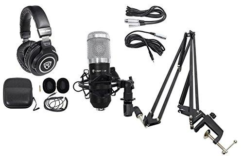 Rockville Studio Recording Microphone+40 Boom Arm+Desk Clamp+Mount+Headphones