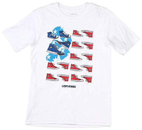 Converse Big Boys' (8-20) Chucks & Stripes T-Shirt-White-Medium