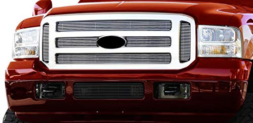 (Fits 05-07 Ford Excursion/F250/F350/F450/F550 Super Duty (Original Shell has to be Honeycomb) Bolton Upper 6PC Horizontal Billet Polished Aluminum Grille Grill Inser)