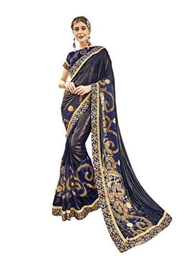 KIMANA Indian Women Designer Ethnic Wedding Lycra &Net Party Wear Saree Blouse S7733 Navy Blue