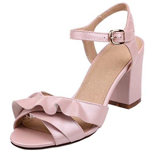RAZAMAZA Mujer Moda Correa de tobillo Zapatos Peep Toe Tacon Ancho Zapatos Rosado