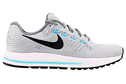 Zapatillas para correr Nike Mens Air Zoom Vomero 12 lobo gris / negro / azul cloro 863762-003 talla 9