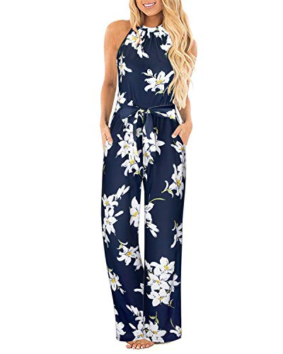 II ININ Women's Sexy Halterneck Sleeveless Pocketed Floral Loose Jumpsuit with Waistbelt(Floral02,S)