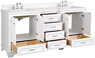Nantucket - Mueble de baño (cuarzo/blanco): Incluye blanco armario ...