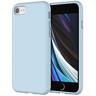 JETech-Funda-de-Silicona-Compatible-iPhone-SE-2020-iPhone-8-y-iPhone-7-47-Sedoso-Tacto-Suave-Cubierta-a-Prueba-de-Golpes-con-Forro-de-Microfibra-Azul-Claro