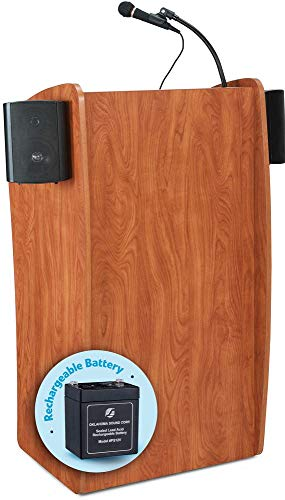 Oklahoma Sound 611S The Vision Basic Lectern Podium with Sound, Cherry, 30 Watts Power Output, Accommodate Audience up to 900, Designed with a Sleek Curved Shape in a Modern Wild - Laminate Wild Cherry