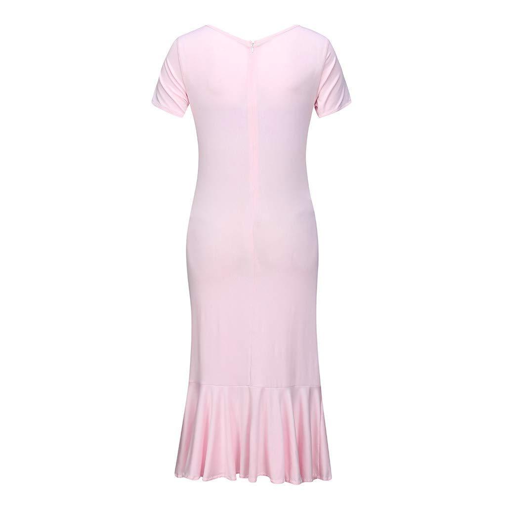 Forthery Womens Dress Maternity Lotus Printed Short Sleeve O Neck Sundress Pregnancy Knee Length Sheath Dresses