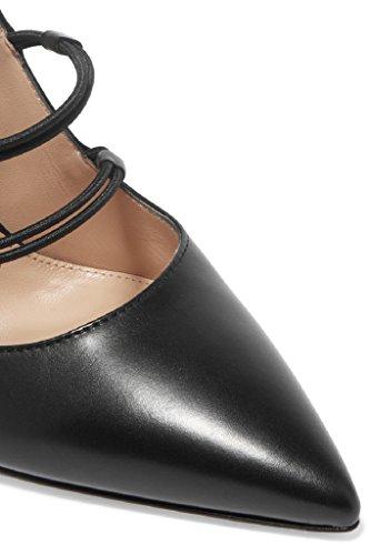 Kolnoo Femmes 10cm Pompes Partie talon haut Strap Bottom Cut-out Chaussures Black Black qfgOqgcUz4