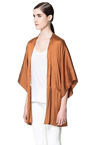 Zara marrón brillante Kimono en la parte superior y diseño de la chaqueta de hípica para niños: tamaño mediano: Amazon.es: Ropa y accesorios