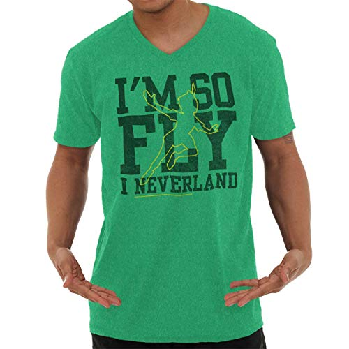 - So Fly I Neverland Awesome Peter Gift Tee V-Neck T Shirt Heather Irish Green