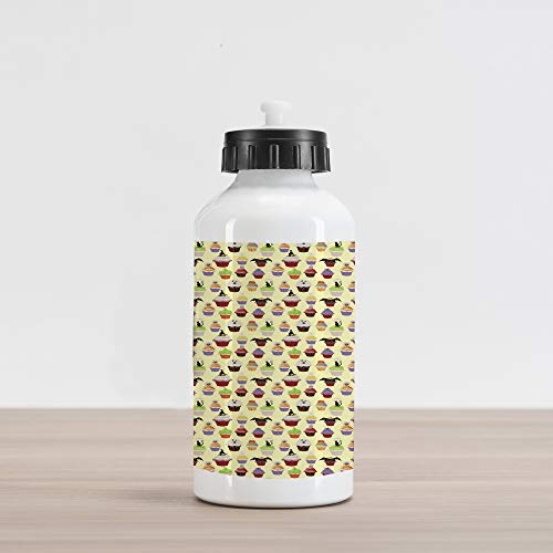 Ambesonne Cupcake Aluminum Water Bottle, Halloween Themed Delicious Scary with Cat Bat Ghost Frosting Holiday Season Cakes, Aluminum Insulated Spill-Proof Travel Sports Water Bottle, Multicolor ()