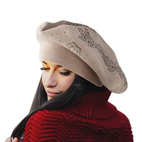 LADYBRO Wool Winter Berets for Women Rhinestones Double Layers Headgear Knit Hats (Beige-Top (Rhinestone Womens Knit Cap)