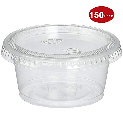Plastic Portion Cups with Lids 2 oz. Pack of 150 Jello Shot Cup Salad Dressing Containers for Sauce Condiment Snack Souffle and Salsa, BPA Free - by DuraHome