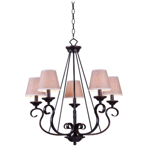 Kenroy Home 93115ORB Basket 5-Light Chandelier with Oil Rubbed Bronze Finish