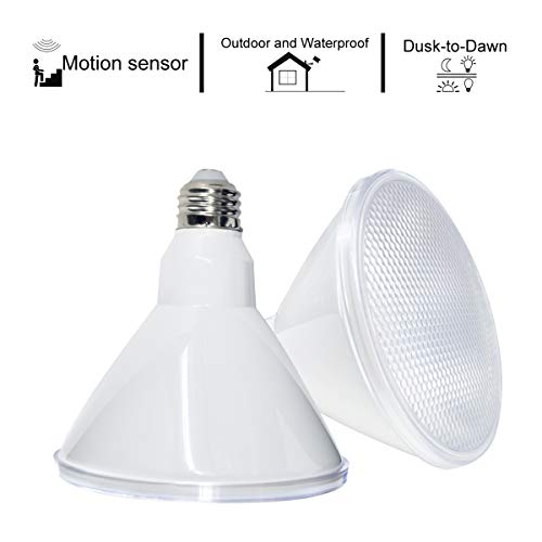 Motion Sensor Actived & Dusk to Dawn PAR38 LED Flood Light Bulb, 18W (120-150W Equivalent), 1600lm, 3000K Warm White, 120 Degree Big Beam Angle, Medium Base(E26)-Indoor and Outdoor Use-2 Pack