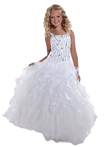 GreenBloom Girls' Tank Style Long Straps Crystals Angel Birthday Party Dresses Watermelon 2