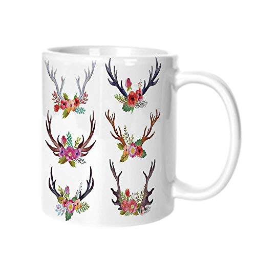 Antlers Decor Fashion Coffee Cup,Deer Horns Bouquet Flowers Bloom Fun Springtime Garden Branches Decorative For office,One -