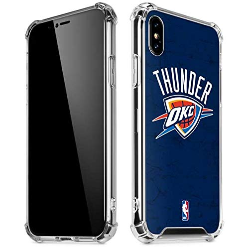 Skinit OKC Thunder Distressed Blue iPhone Xs Max Clear Case - Officially Licensed NBA Phone Case Clear - Transparent iPhone Xs Max Cover