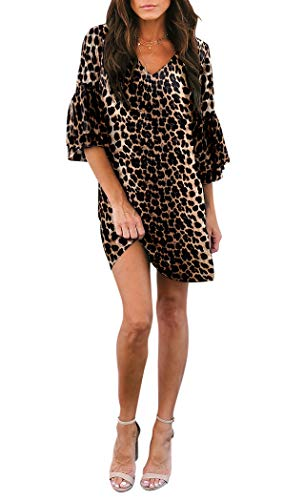 Leopard Print Party Dress - BELONGSCI Women's Dress Sweet & Cute V-Neck Bell Sleeve Shift Dress Mini Dress (Leopard Print, XS)
